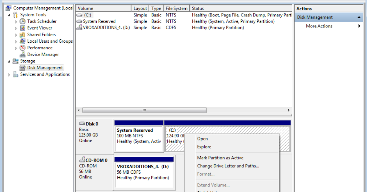 mark partition as active