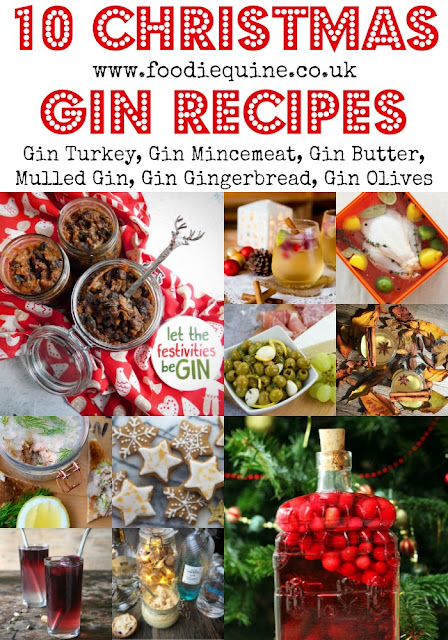 www.foodiequine.co.uk A boozy roundup of 10 Juniper filled Chrstmas recipes from UK bloggers that will be sure to get you in the Christmas Spirit. Everything from Gin Turkey to Gin Mincemeat and Mulled Gin to Gin Gingerbread. Whatever the festive recipe - just add Gin!