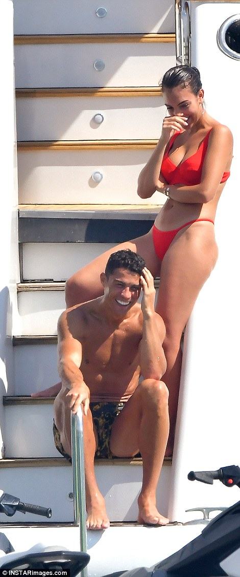Cristiano Ronaldo spends some quality time with his family on board a luxury yacht in Saint Tropez