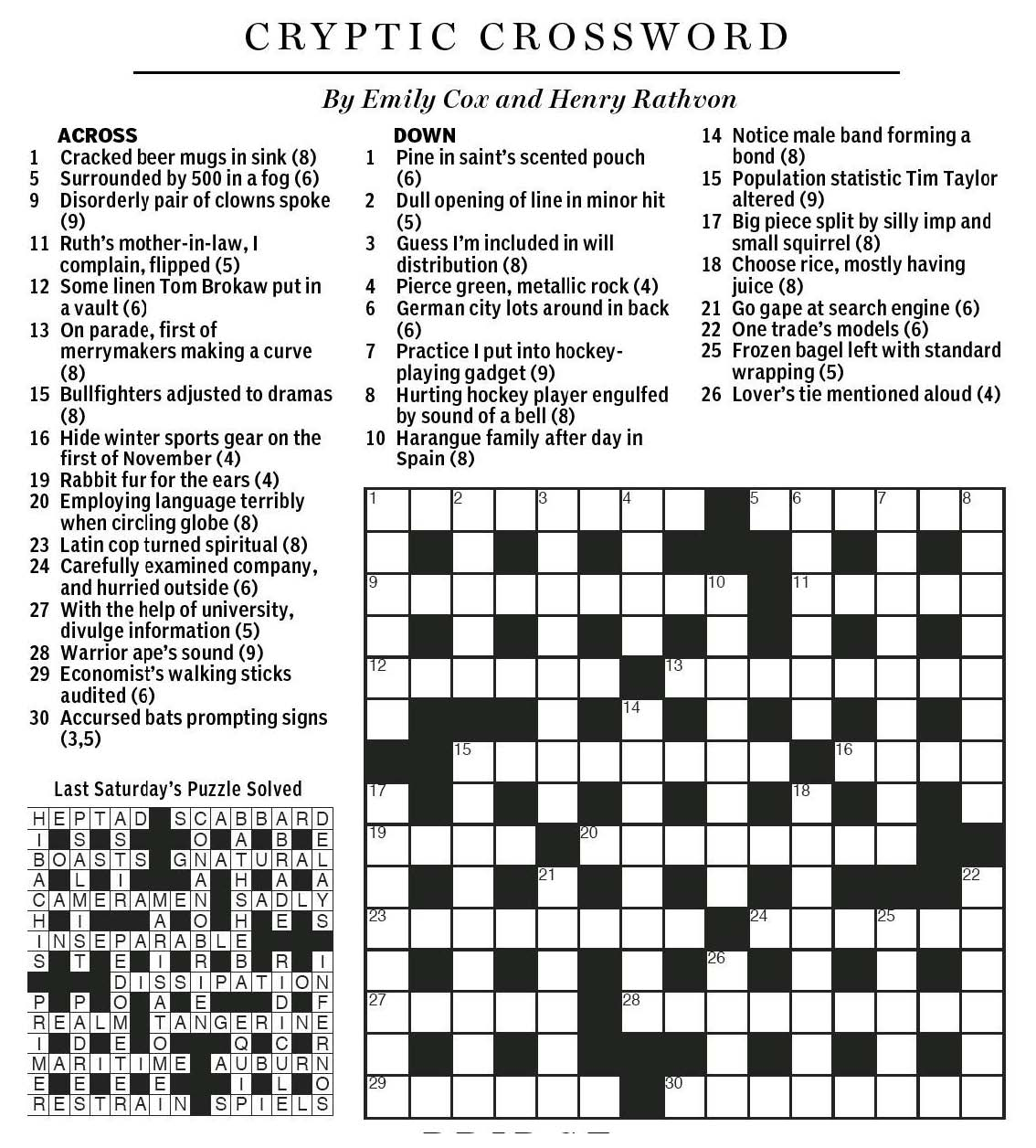 National Post Cryptic Crossword Forum Saturday August 29