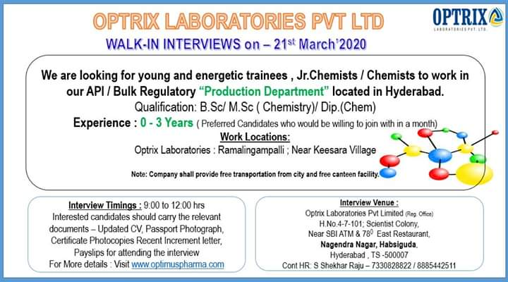 Optrix Laboratories Pvt. Ltd - Walk-In Drive for Freshers & Experienced in Production Department 21st Mar' 2020