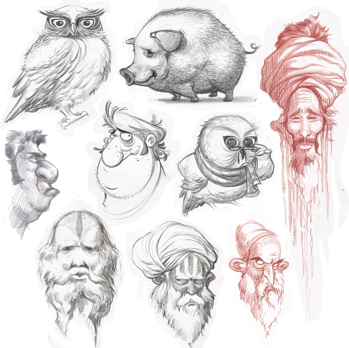 Character Design Sketchbook : Dattaraj kamat animation art from the sketchbook