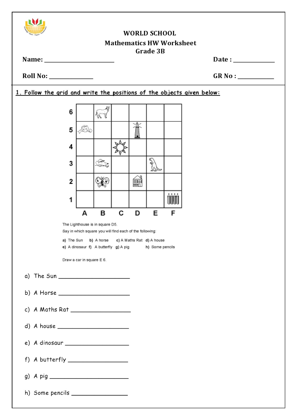Birla World School Oman Homework For Grade 3 As On 20 03