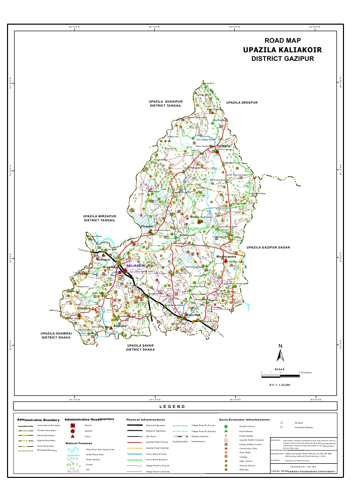 Kaliakair Upazila Road Map Gazipur District Bangladesh