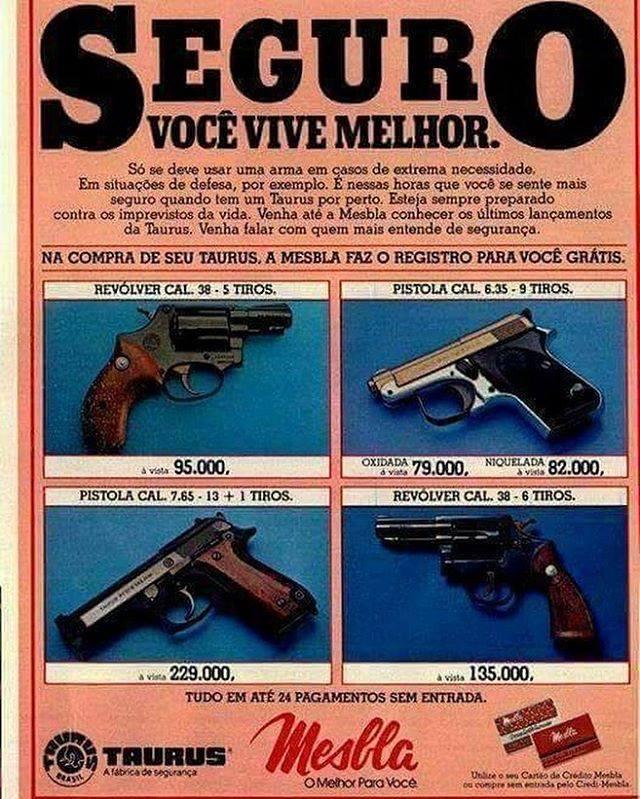 Promoção de revolveres e pistolas da Taurus na Mesbla, nos anos 80
