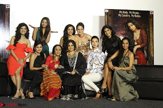 Vidya Balan with Ila Arun Gauhar Khan and other girls and star cast at Trailer launch of move Begum Jaan 005.JPG