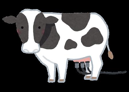 搾乳される牛のイラスト