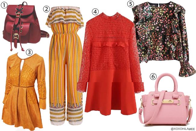 日本人ファッションブロガー,Mizuho K,ほしい物リスト 春夏2017 ZAFUL-赤ワンピース,花柄ブラウス、赤バッグパック、黄色ワンピース、黄色オールインワン、ピンクハンドバッグ