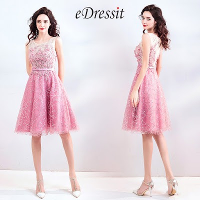 Bright Pink Beaded Cute Cocktail Party Dress