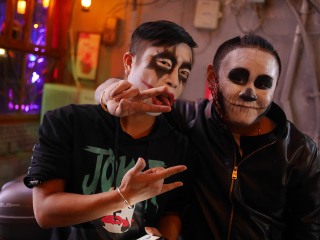 two young men dressed up for Halloween in Changsha