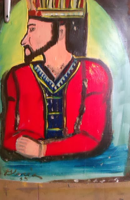 King David of bible mosaic-like sketch by Gloria Poole in yr 1995 in Atlanta, GA.