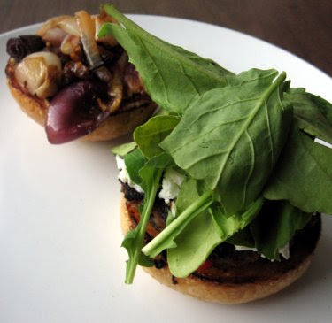 lamb burger with goat cheese and caramelized onions