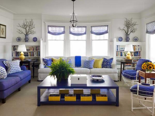 sala en azul amarillo