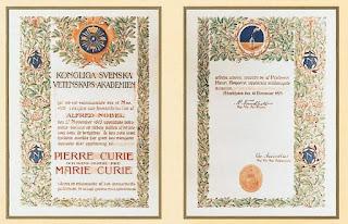 Dyplom Nagrody Nobla Marii i Piotra 1903
