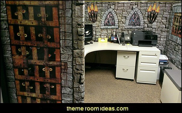 Medieval Castle and dungeon cubicle  office cubicle decorating ideas - cubicle decorating - work desk decorations - cubicle decoration themes - cubicle decor - office birthday party cubicle decorations - office birthday decorating kit - glitter office supplies - desktop organizers