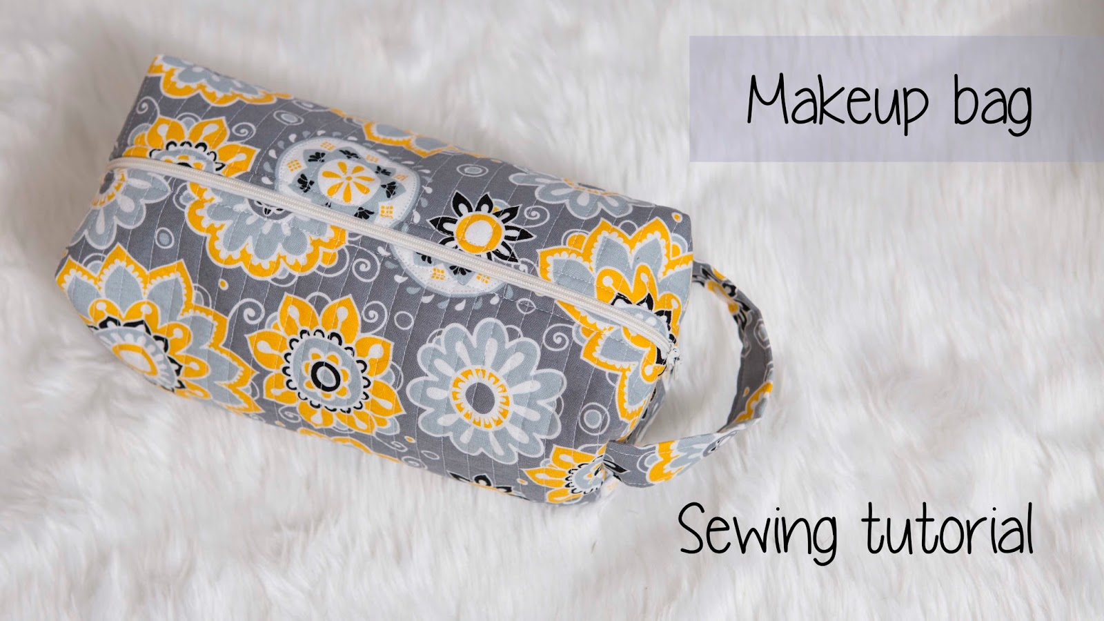 Quilted Box Make up bag Sewing tutorial | Charmed By Ashley