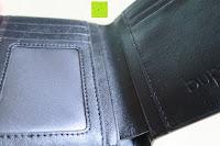 Sichtfenster: bupell Flache Portemonnaie mit herausnehmbarem Ausweisfach - Aus echtem Leder - Seitlichem Münzfach mit Reißverschluss - Schwarz