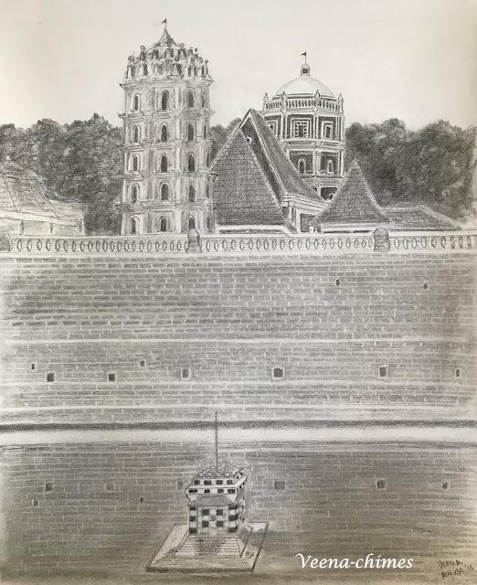 Pencil Drawing- Shri Shantadurga Temple, Kavle, Goa, India