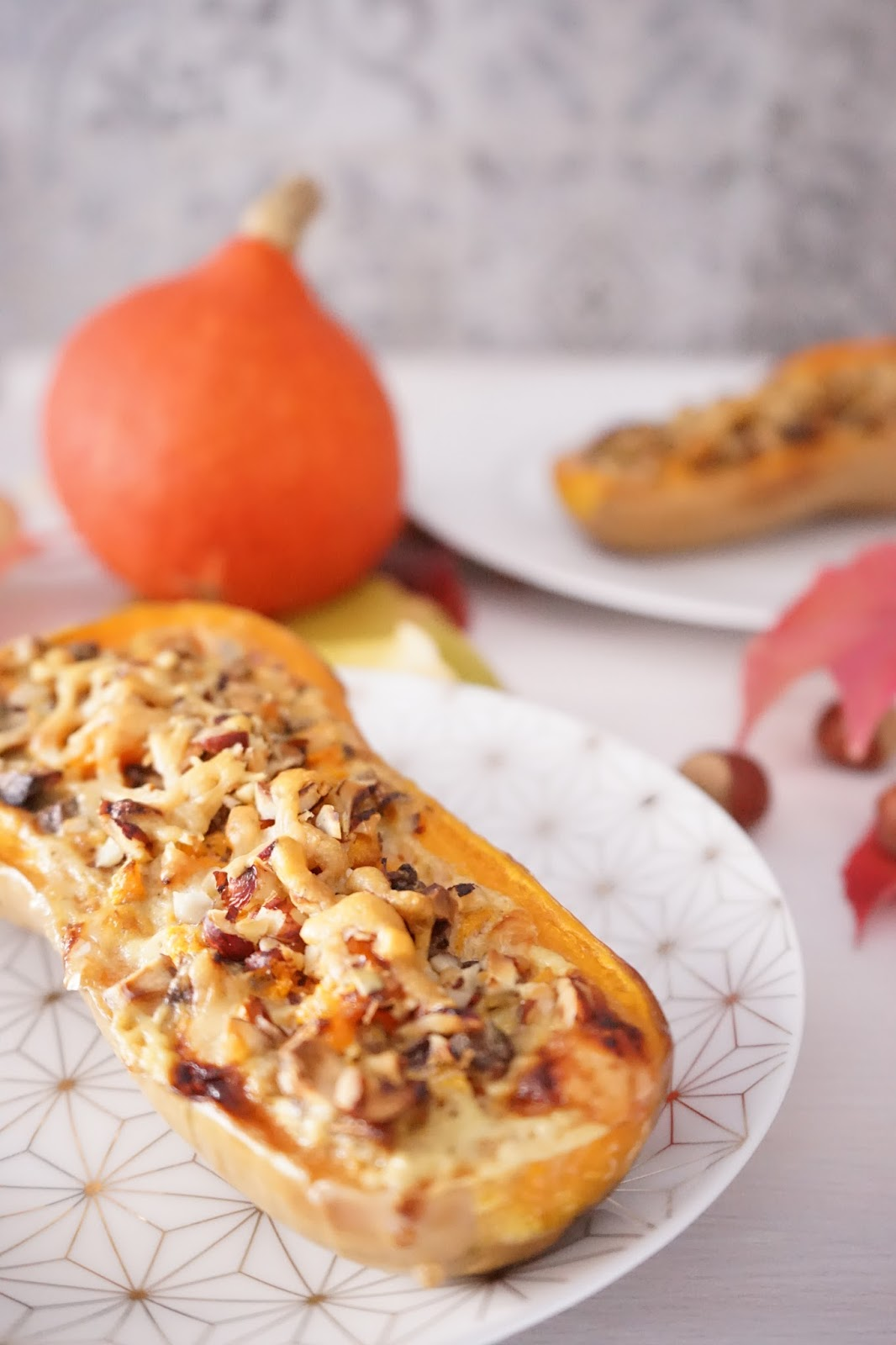 the cook time: courge butternut farcie aux champignons, noisettes et