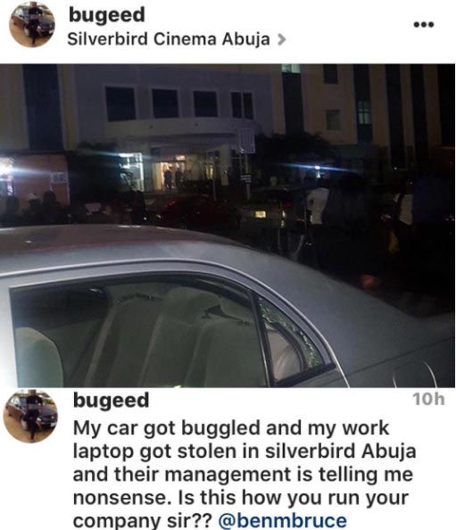 Man calls out senator Ben Murray-Bruce after getting robbed at Silverbird Cinema