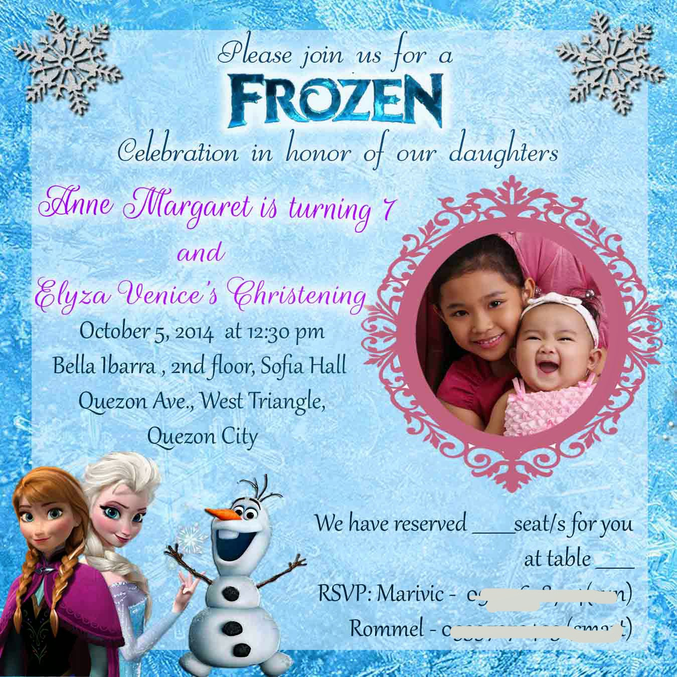 Frozen Invitation Wording