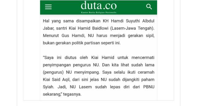 Ini Bantahan PCNU Lasem Atas Pernyataan Hamdi Suyuthi yang Menyebut NU Lasem Lepas dari PBNU