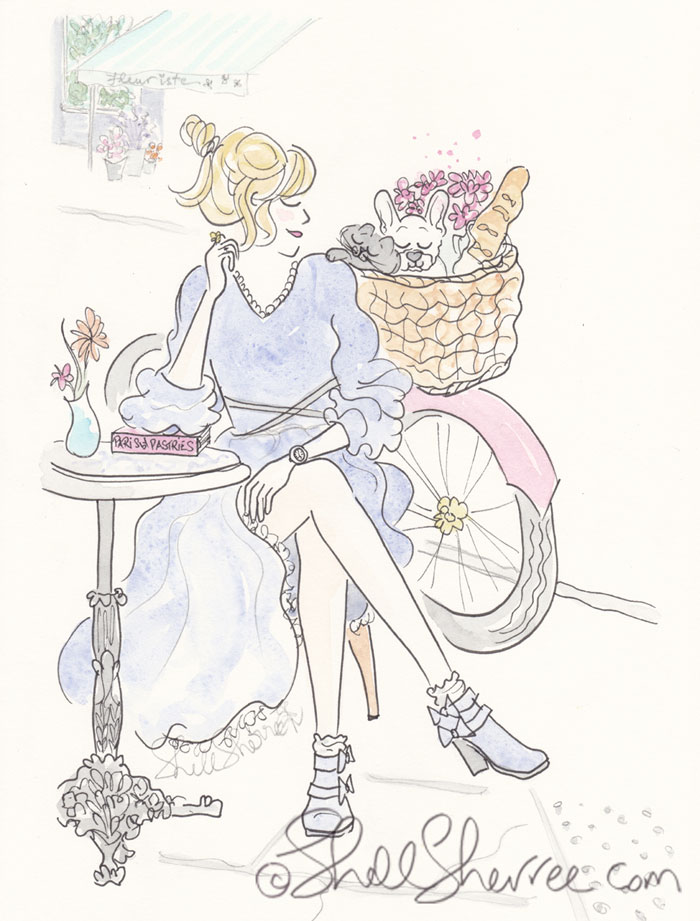 Paris Fashion and Fluffballs illustration: Bicyclette, Baguettes and Basket of Furbabes © Shell Sherree