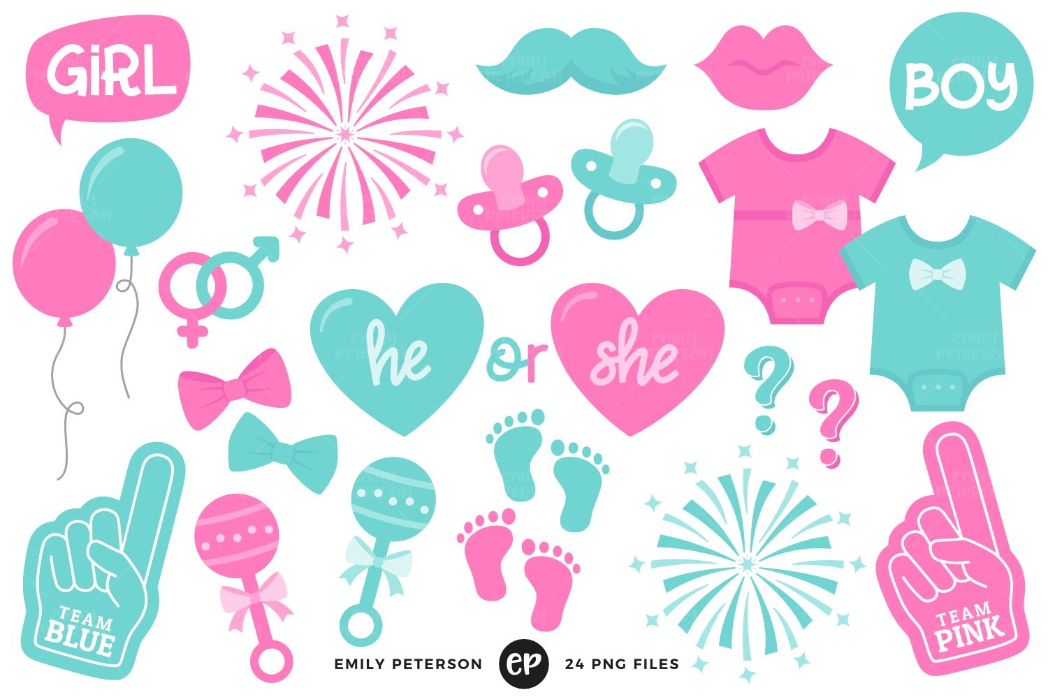 Gender Reveal Clipart, Emily Peterson