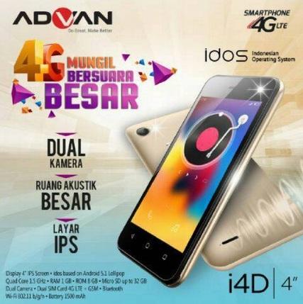 Harga HP Advan i4D Tahun 2017 Lengkap Dengan Spesifikasi Dual Led Flash Kamera 4G LTE Harga Rp. 700 Ribuan