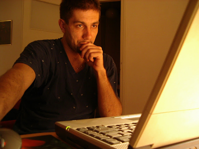 Man working freelance in his home.