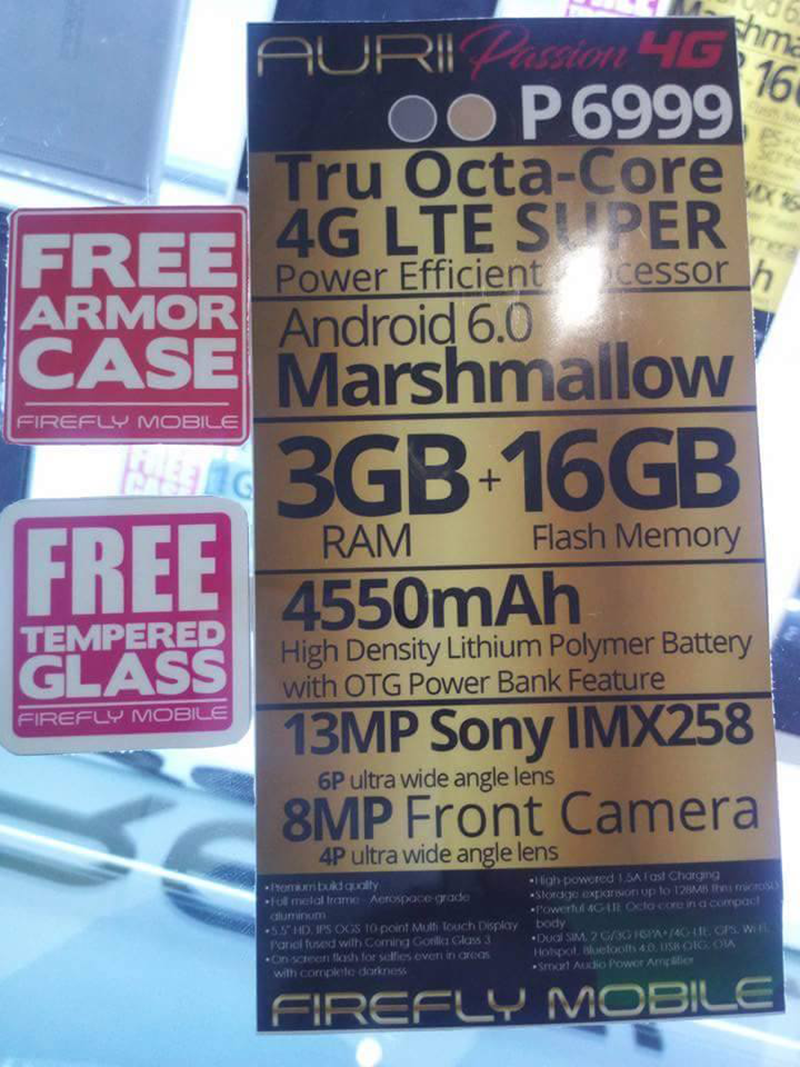 Firefly Mobile Aurii Passion 4G leaked specs!