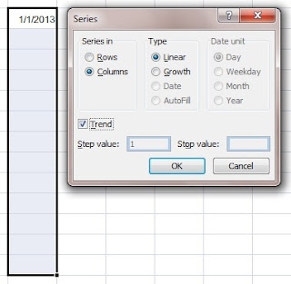 Using Auto command to fill running date in excel column