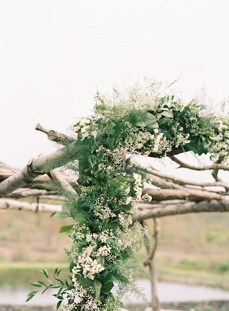 Delicate white floral details for Jonna and Heather's Inn at West Settlement Wedding by Karen Hill Photography