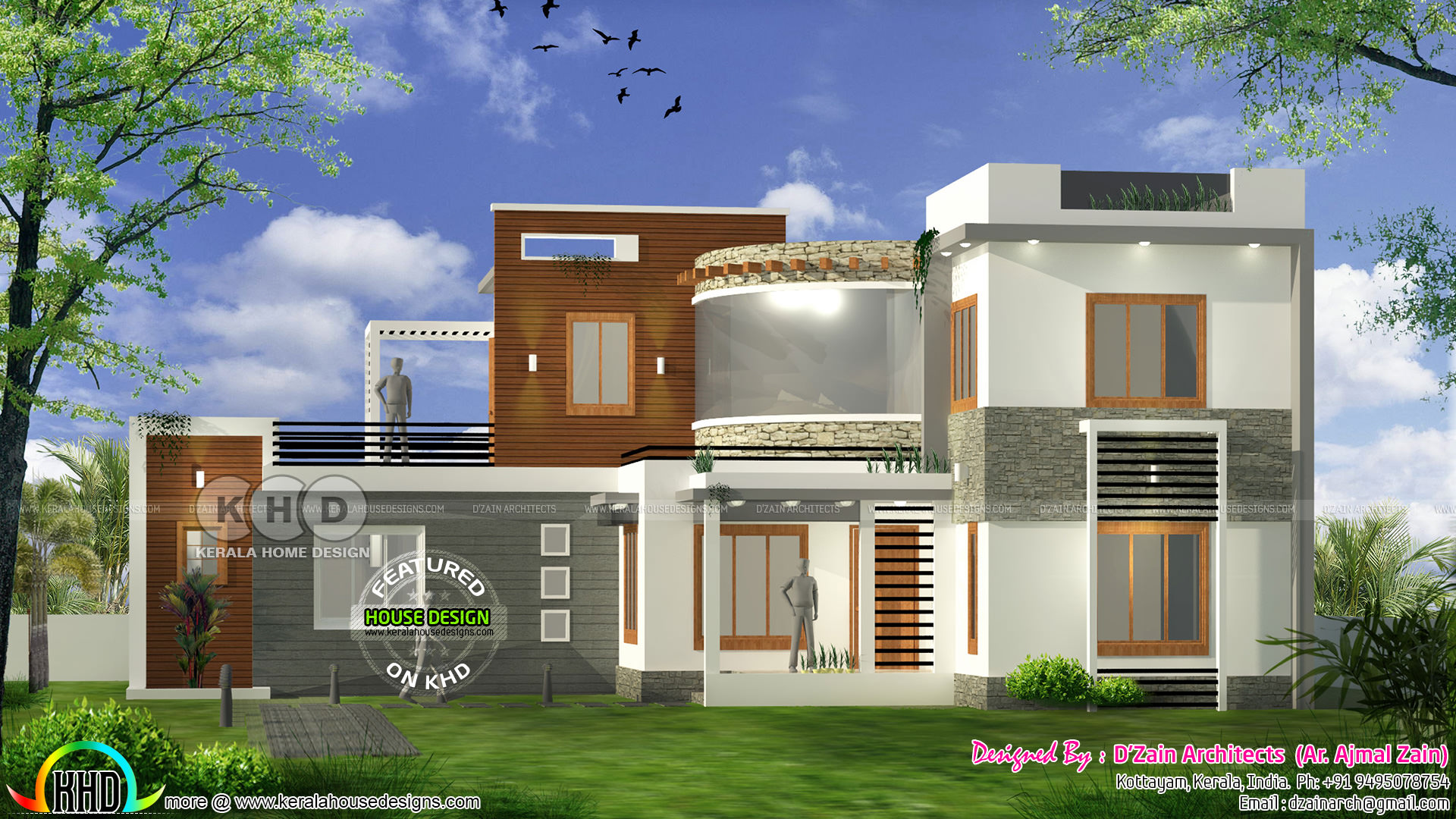 4 bhk modern contemporary home 1800 square feet kerala for Modern square house