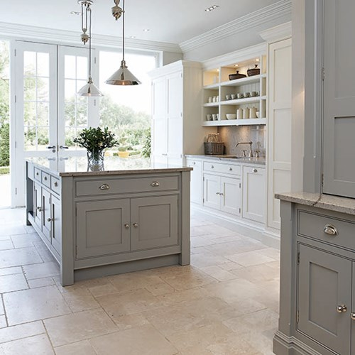 Gorgeous classic style Shaker kitchen with blue gray and white on Hello Lovely Studio
