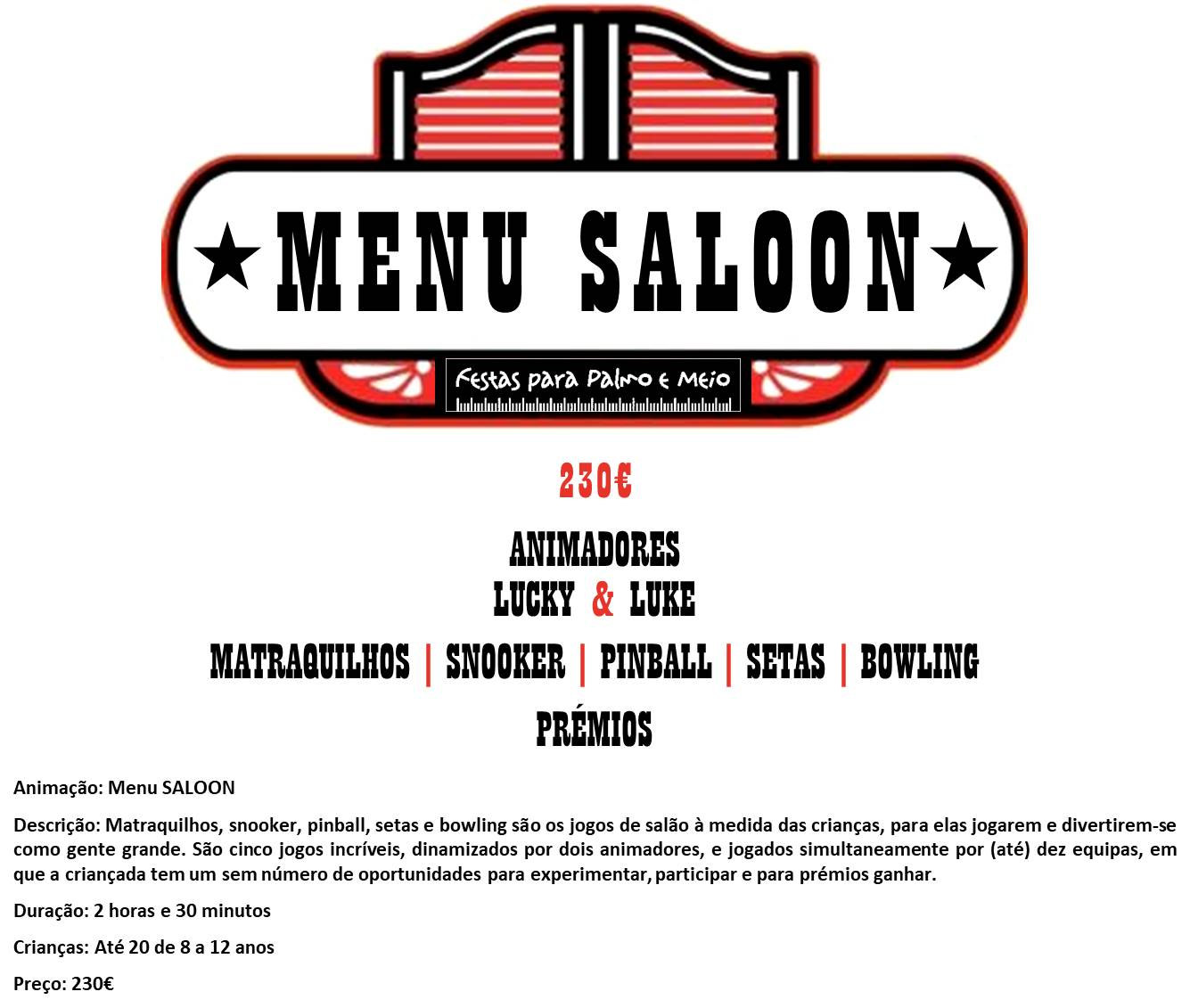 MENU SALOON