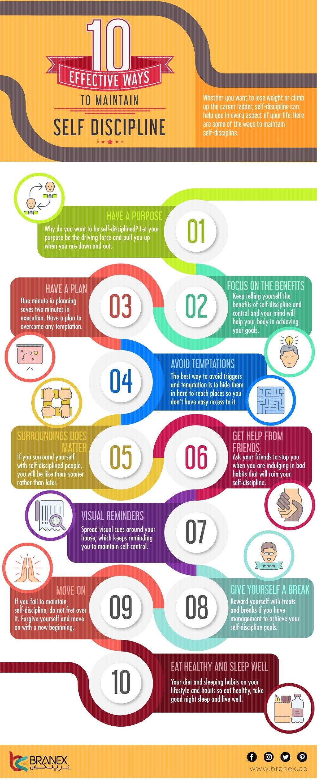 10 Effective Ways to Maintain Self Discipline #infographic