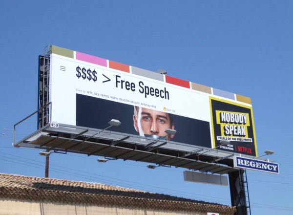 Nobody Speak Trials Free Press documentary billboard
