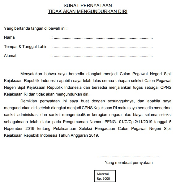 gambar contoh surat pernyataan tidak akan mengundurkan diri