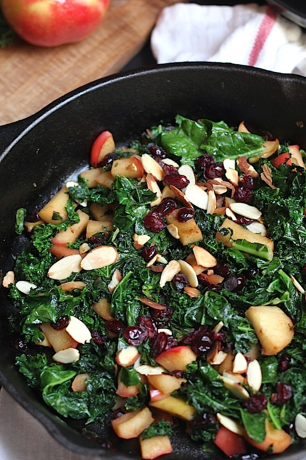 Savor Home: Warm Kale, Apple, & Cranberry Salad - Two Ways