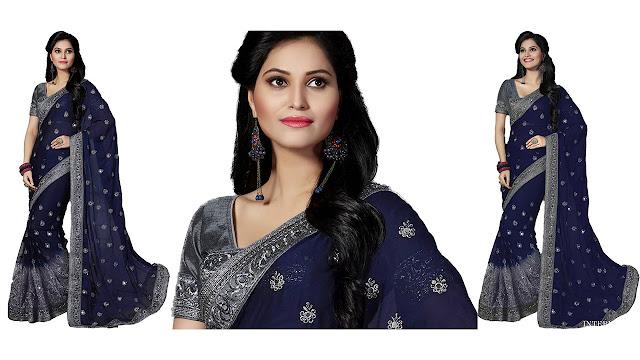 M.S.Retail Bollywood Chiffon, Net Saree  (Dark Blue)