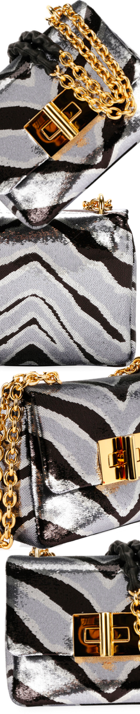 TOM FORD Natalia Zebra Sequins Large Shoulder Bag
