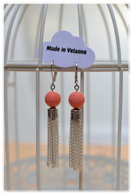 boucles d'oreilles made in Velanne corail et argentées