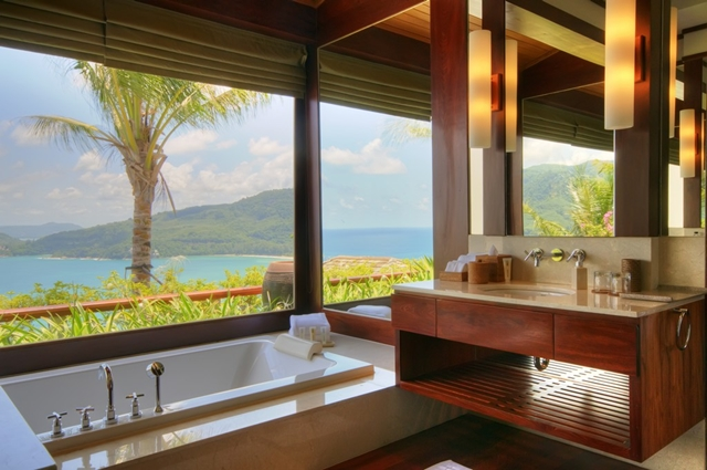 View of the ocean from the bathroom