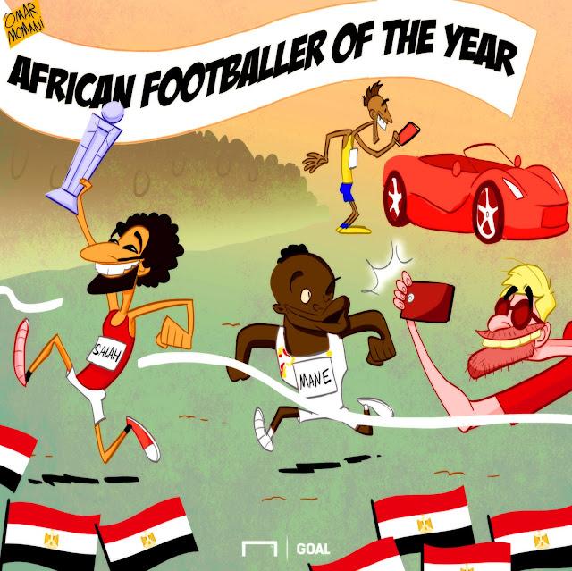 Mohamed Salah, Sadio Mane, Pierre-Emerick Aubameyang cartoon