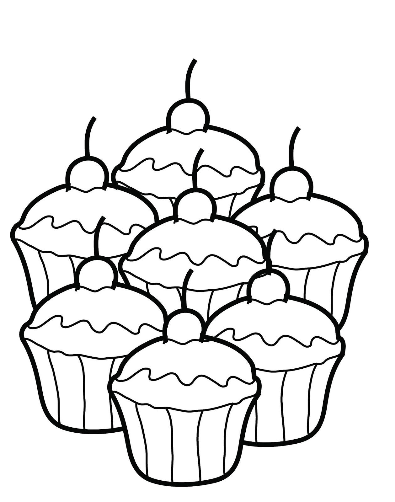Dessins et coloriages page de coloriage grand format imprimer des petits cupcakes - Coloriage grand format ...
