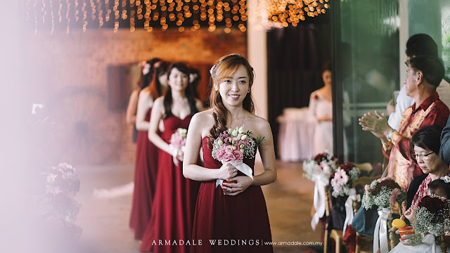 gorgeous bride maids in red