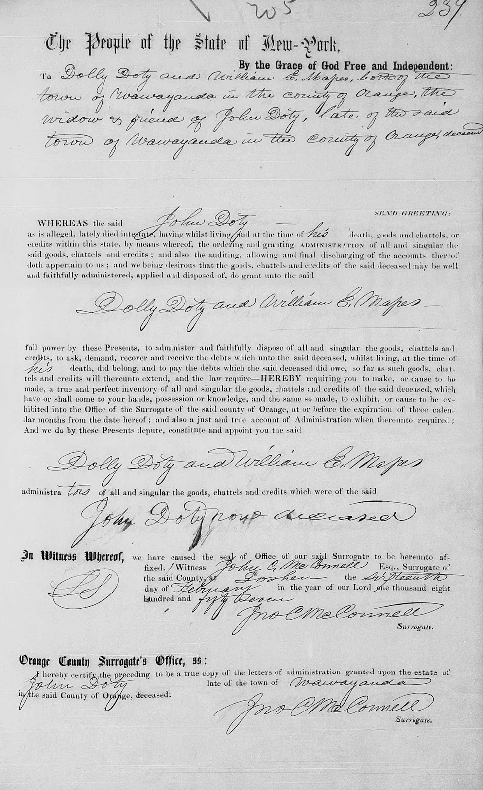 Orange County, NY Letter of Administration of John Doty's estate