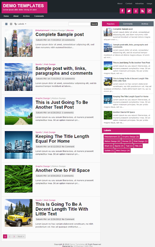 TheTuts Pink Blogger Template