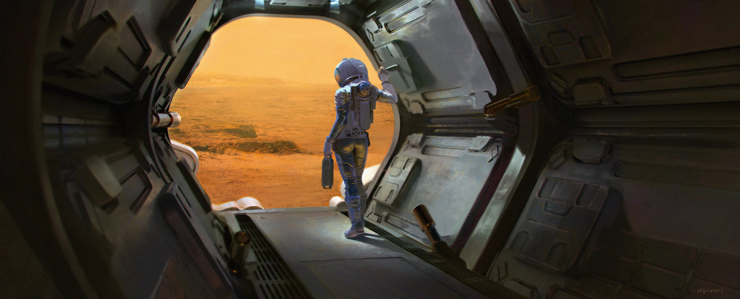 Female astronaut on Mars by Mark Kent